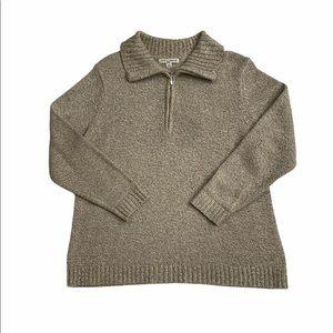 🌷3/$20 Carolyn Taylor Tan Quarter Zip Sweater 3X